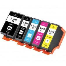 COMBO EPSON T302 BK/PBK/C/M/Y XL COMPATIBLE INKJET BLACK/C/M/Y CARTRIDGE