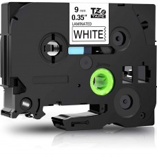 """BROTHER TZE-221 LABEL TAPE 9MM (0.35"""") COMPATIBLE (BLACK ON WHITE)"""